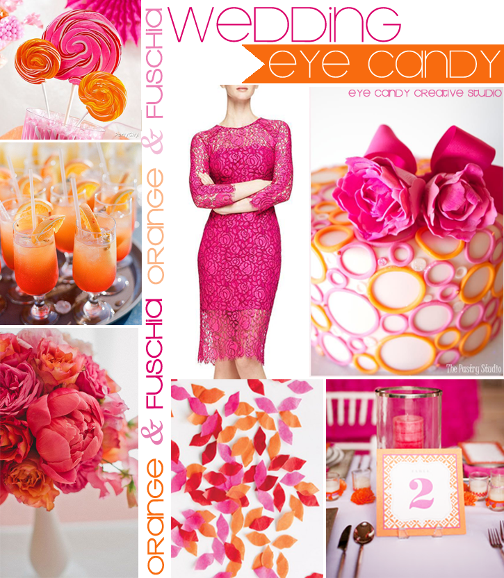 summer wedding decor, orange wedding, fuschia wedding, cocktails, wedding details