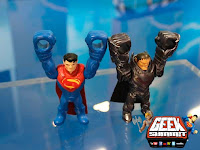 Man of Steel prototype figures premier first look exploders speed flyers Movie Masters 2013 Mattel Play Arts Kai Square Enix toy Commercials Exploders Speed Flyers Leaked Spoilers Mattel Zod Robot Army Black Zero Spaceship FlightSpeeders Stretchy Figures Henry Cavill Superman Man of Steel Movie Masters Action Figures Mattel MattyCollector 2013 NYCC 2012 Dark Knight Rises Rah's Al Ghul Batsignal