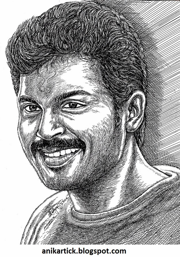 Karthi actor famous tamil actor portrait pen drawing by artist anikartickchennaitamil naduindia