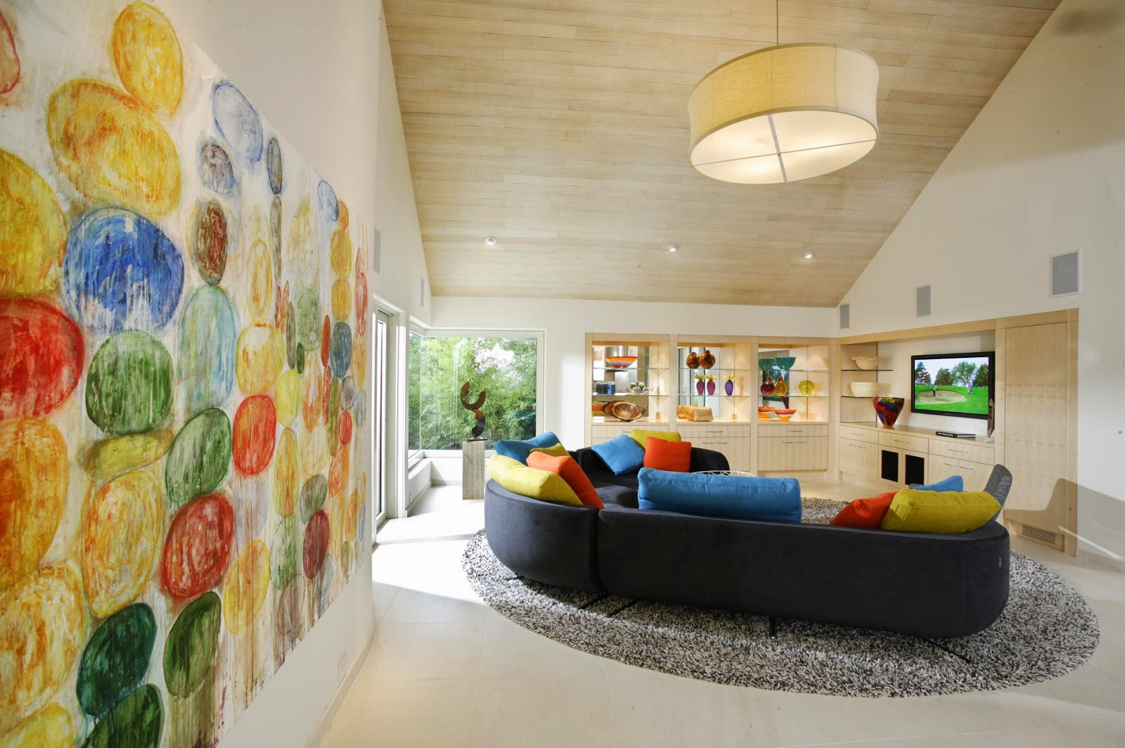 Fresh And Lively Living Room Design With Attractive Wall Art In This  Contemporary Home Design