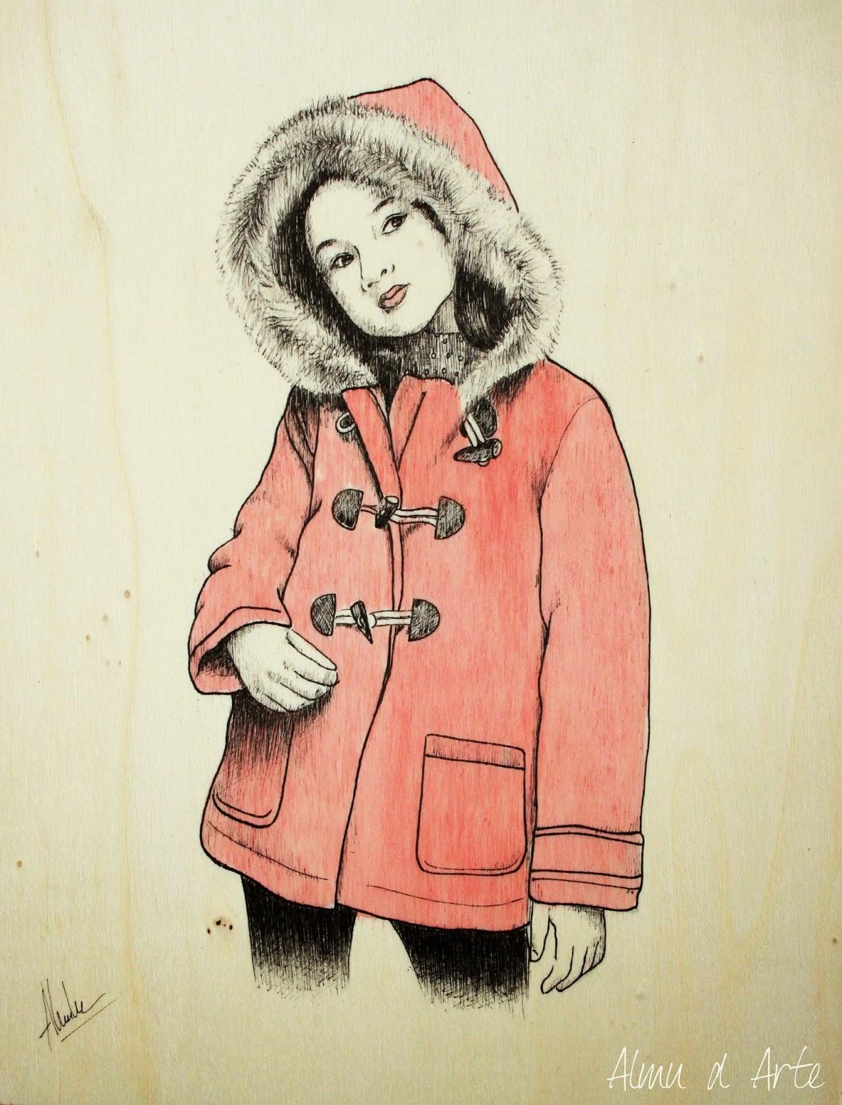 Dibujo de niña con tinta y acuarela