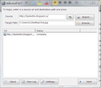 Скриншот веб-страницы с помощью Webshot