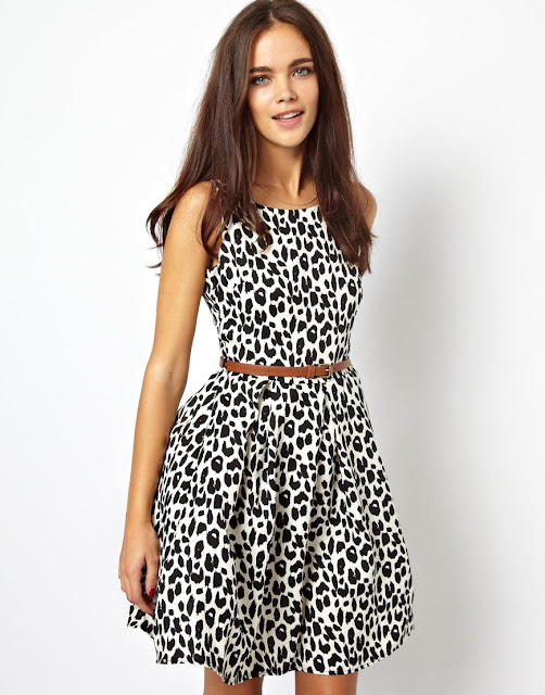 animal print dress with belt