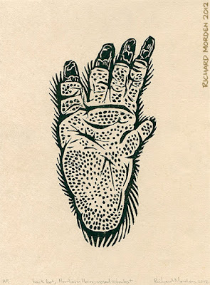 lino cut of a wombats back foot