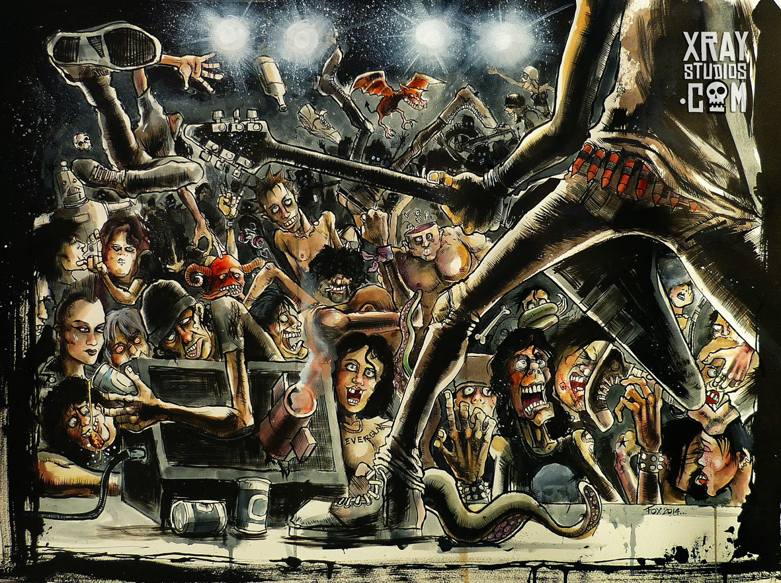"""Caught In A Mosh"" watercolour and ink illustration by Mike Foxall www.xraystudios.com"