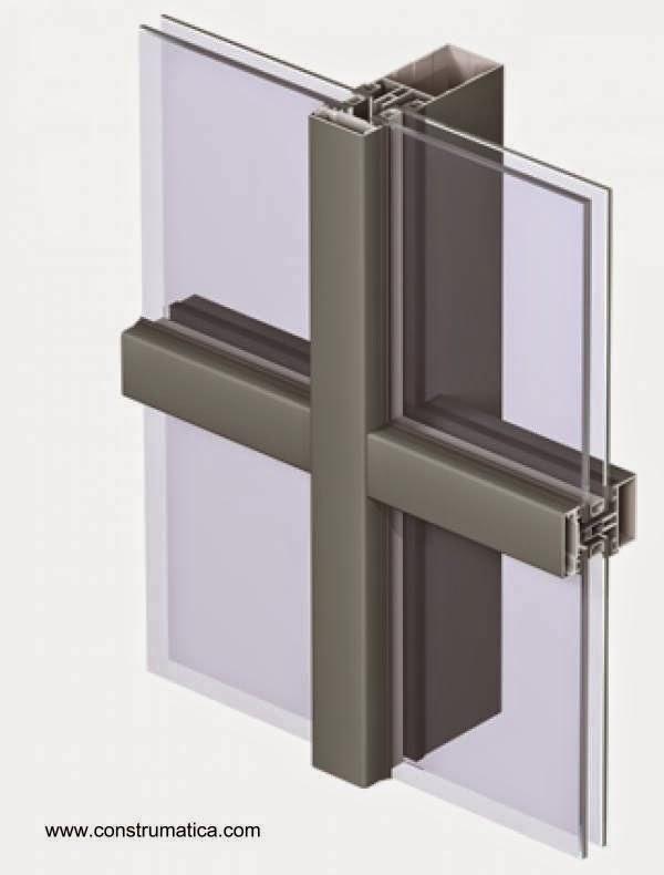 Unión en cruz de vidrios dobles en cerramiento con perfiles de aluminio