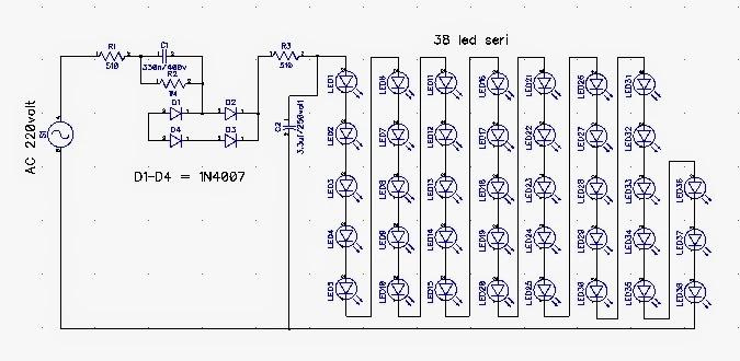 skema rangkaian lampu led 220v