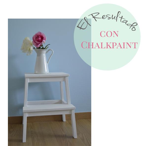 Un taburete de ikea pintado con chalk paint como te quedas for Chalk paint muebles ikea