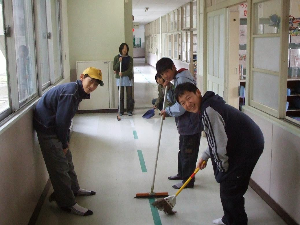 japanese people cleaning