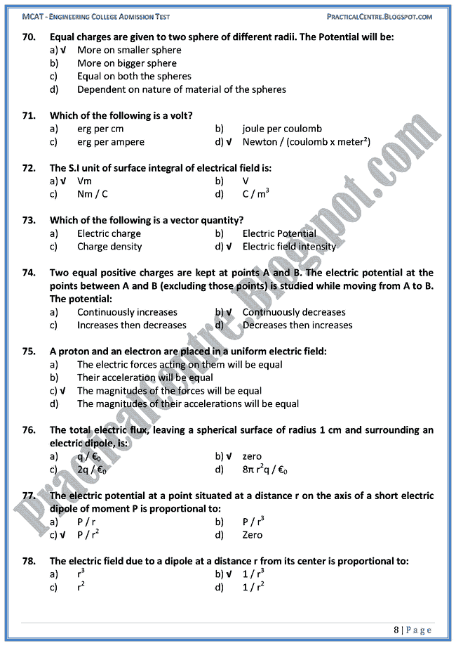 electrostatics-ecat-preparation-mcqs-test-physics-engineering-admission-test