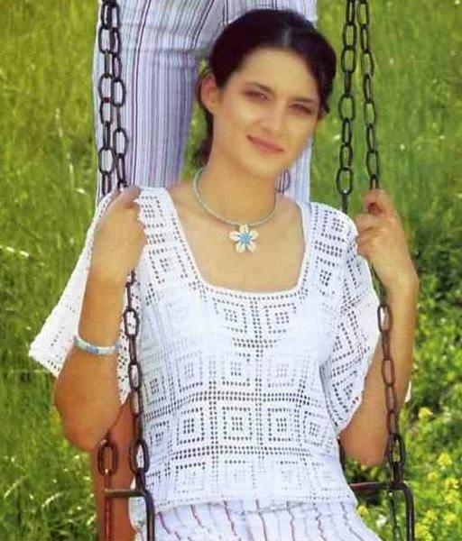 Blusa crochet filet