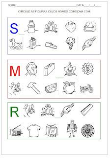 Hipótese de escrita pré-silábica - Circule as figuras.