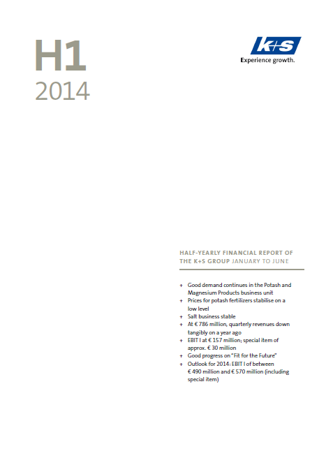 K+S, Q2, 2014, report, front page