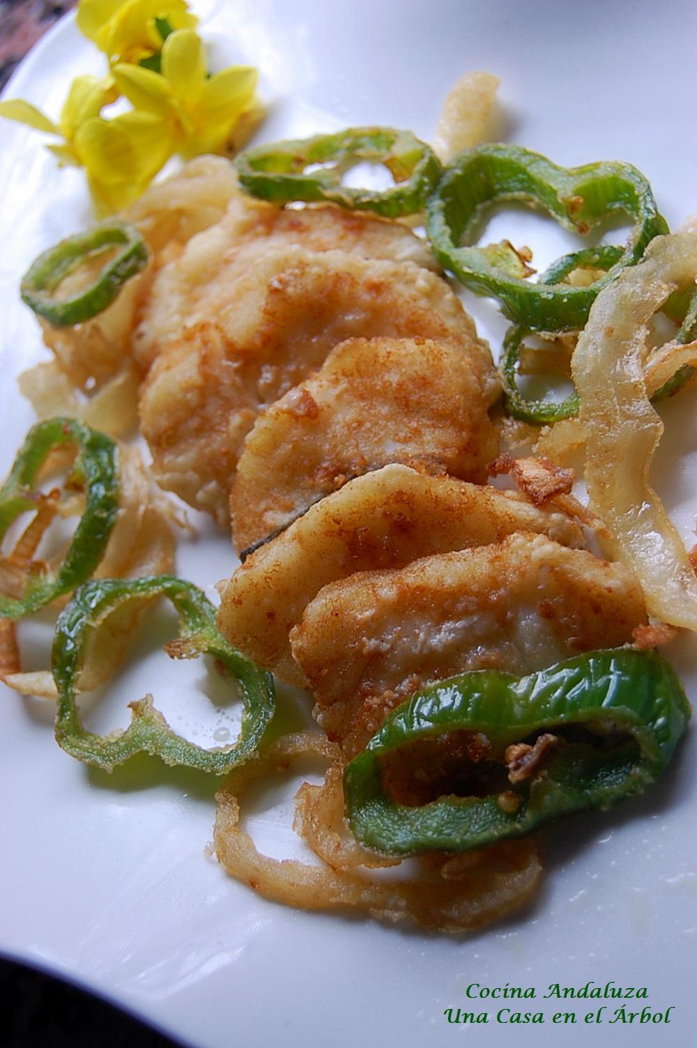 COCINA ANDALUZA: Fritada de Bacalao con Aros de Pimientos y Cebollas