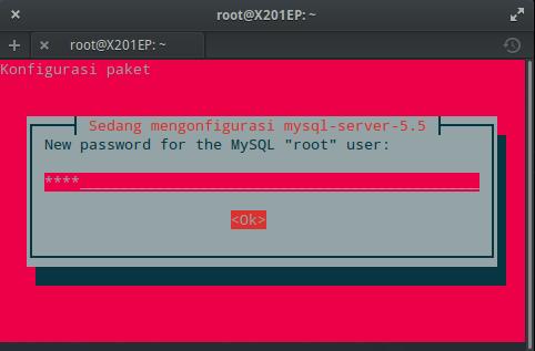 Instal MySQL dan phpMyAdmin : Setting Kata Sandi MySQL (ROOT)