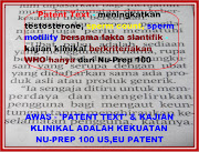 Patent Text increasing testosterone,sperm count sperm motility Nu-Prep 100 longjack JENAMA MALAYSIA
