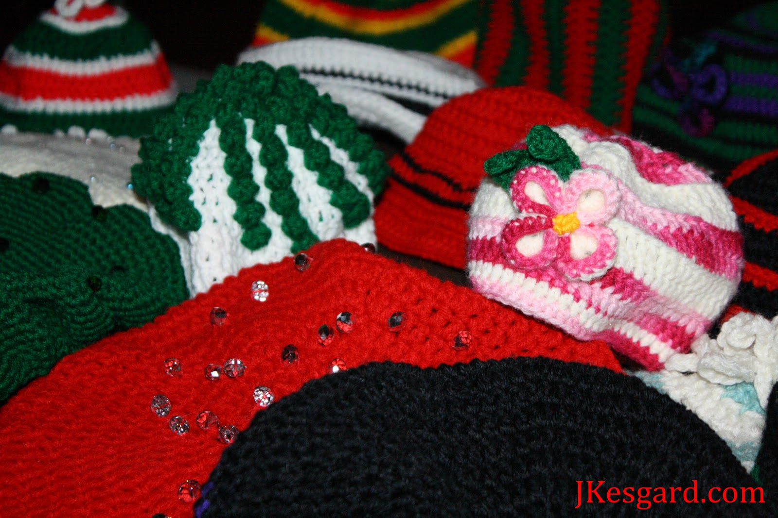 hats with bling, crocheting, lots of holiday colors