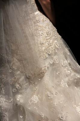 Tambour beading on a wedding gown