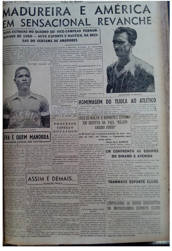 MEMÓRIAS ESMERALDINAS: América 1x1 Madureira/RJ em abril de 1951