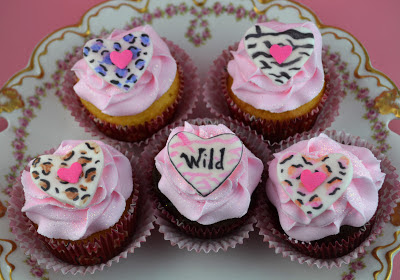 animal print cupcake toppers ~ wild for you valentines cupcakes