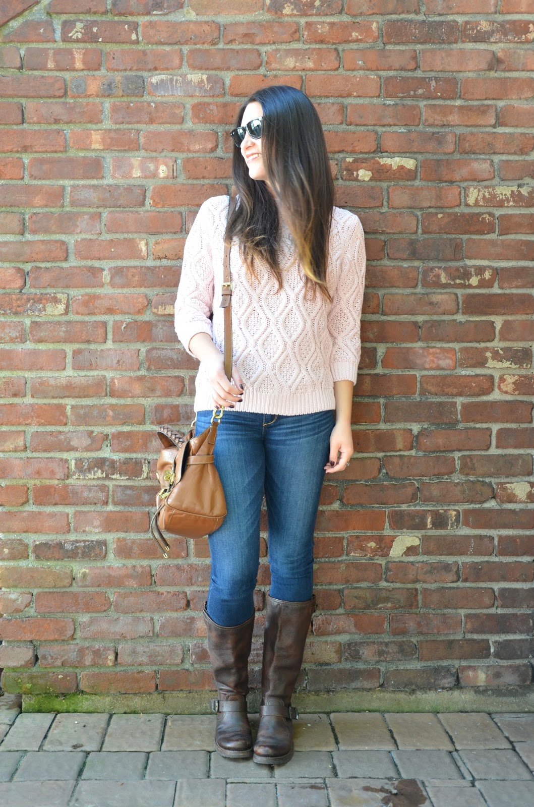 cozy knits | zara cable knit sweater, jeans + frye boots