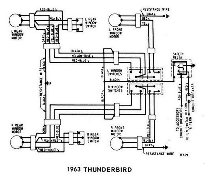 windows wiring diagram for 1963 ford thunderbird