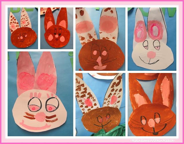 photo of: Kindergarten Bunny Paintings via RainbowsWithinReach