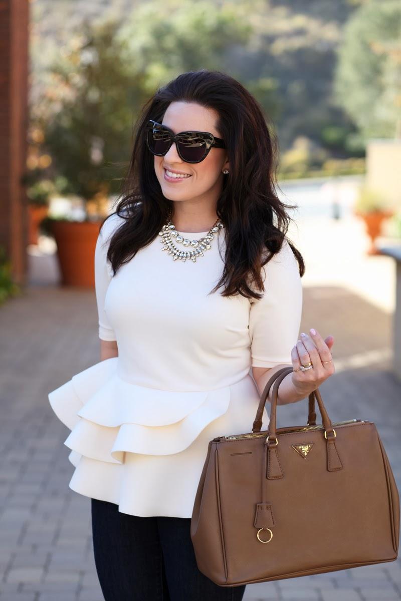 cream-peplum-top-2014-fashion-trends-king-and-kind-style-blog-san-diego-house-of-harlow-chelsea-sunglasses-prada-saffiano-bag