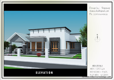 Single Floor house plan - elevation design for 1250 sq ft by shanavaz