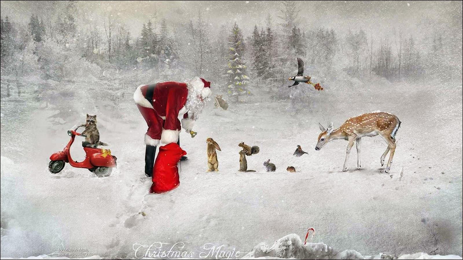 Papá Noel junto a animales
