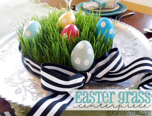 Grow Your Own Easter Grass Centerpiece at my3monsters.com