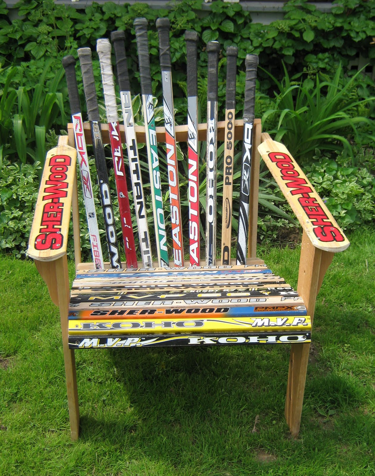 how to build an adirondack chair out of hockey sticks
