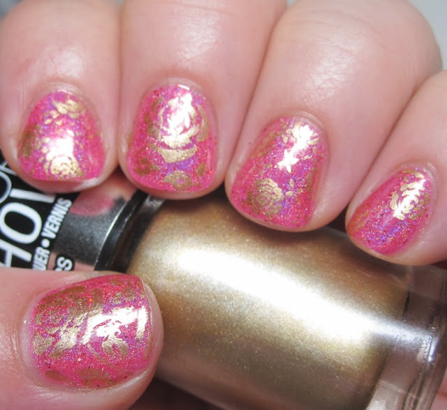 Literary Lacquers Raspberry Cordial? with gold stamped roses