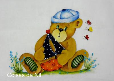 """""""fralda para menino com pintura de ursinho marinheiro"""""""