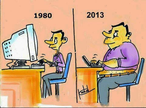 evolution of a computer user from thin to obese