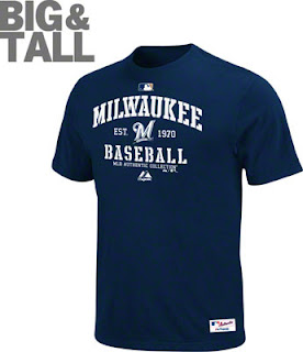Big and Tall Milwaukee Brewers Navy Blue T-Shirt