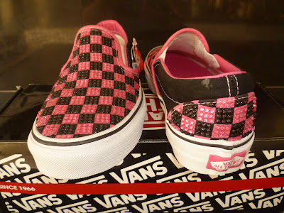 vans off the wall pink and black checkerboard crystal trainers shoes