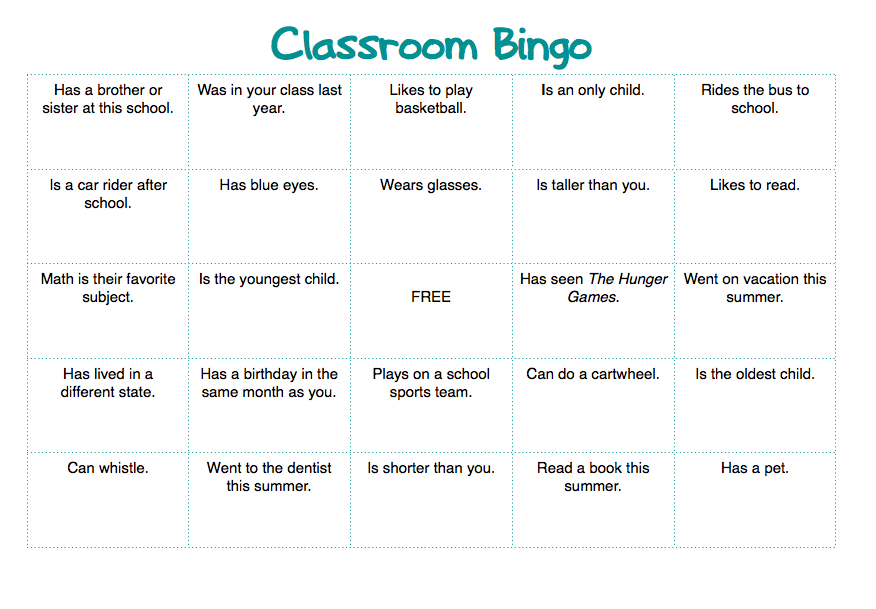 playing bingo in class