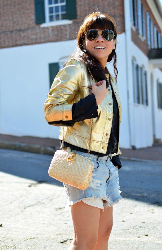 Gold jacket street style