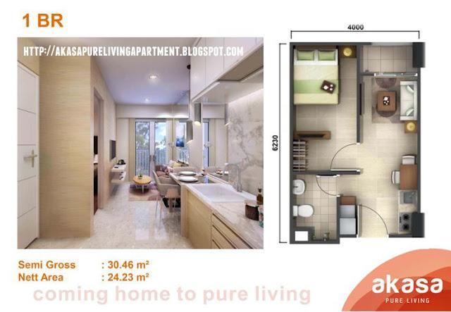 Tipe 1 BR Apartemen Akasa Pure Living BSD