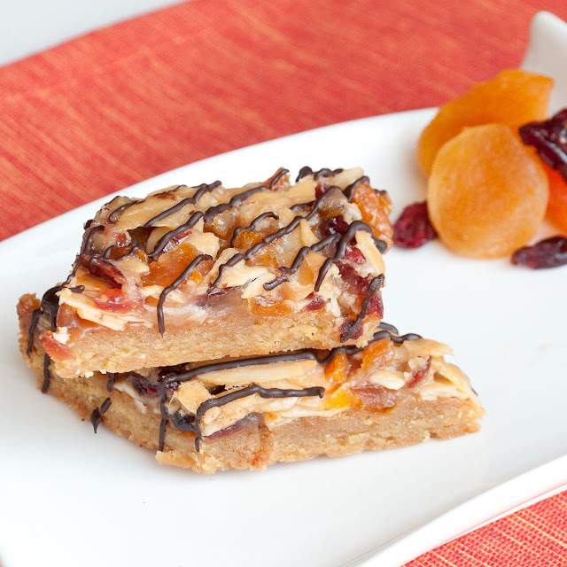 almonds, florentines, dried cranberries, apricots, cherries