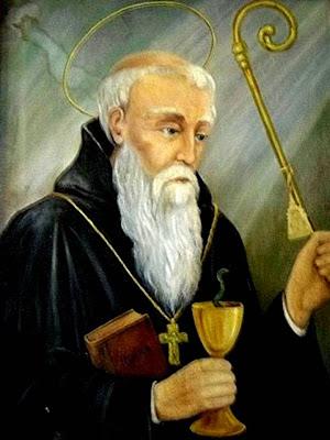 San Benito con el Baculo y la Copa Envenenada