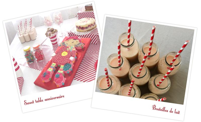 photos de décoration anniversaire et bouteilles de lait