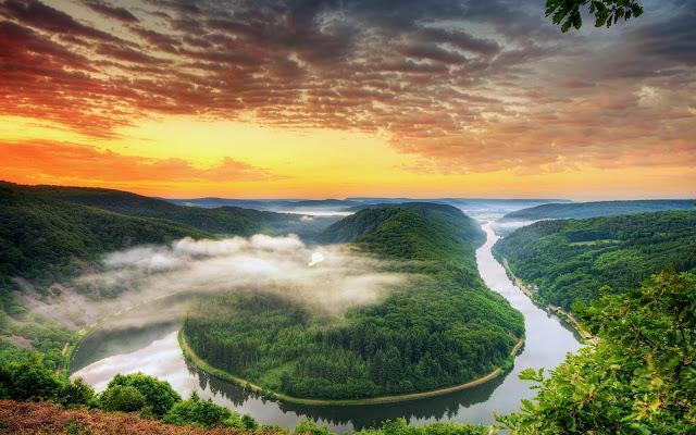 Meandro del Sarre o Saarschleife, Alemania