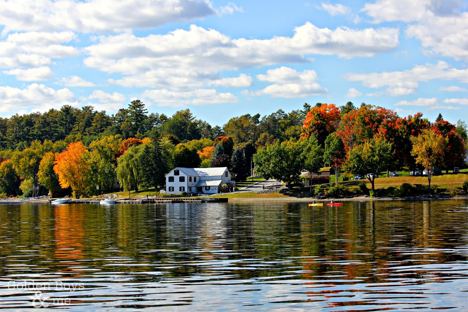 Schroon Lake, NY in fall via www.goldenboysandme.com