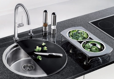modern stainless steel kitchen sink circle design with ceramic countertop