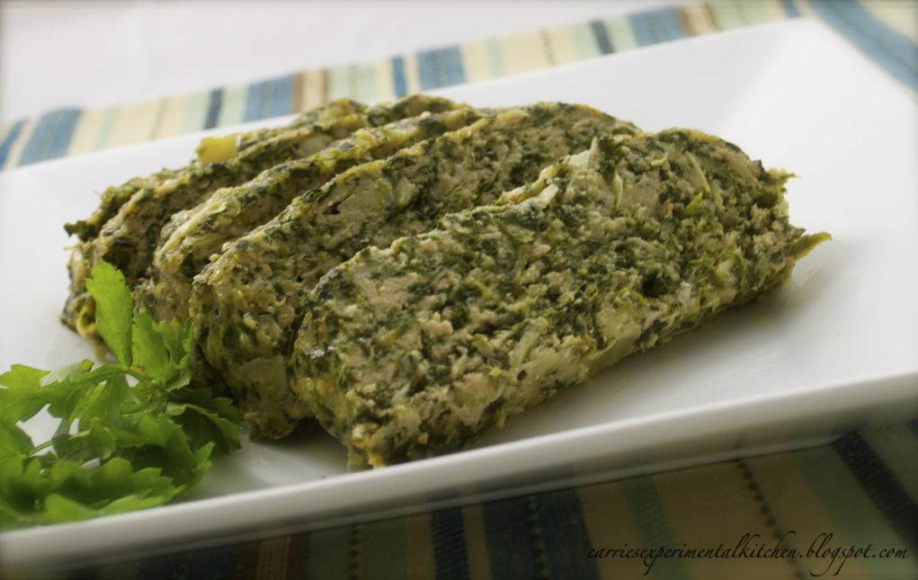 Carrie's Experimental Kitchen: Spinach & Artichoke Chicken Meatloaf