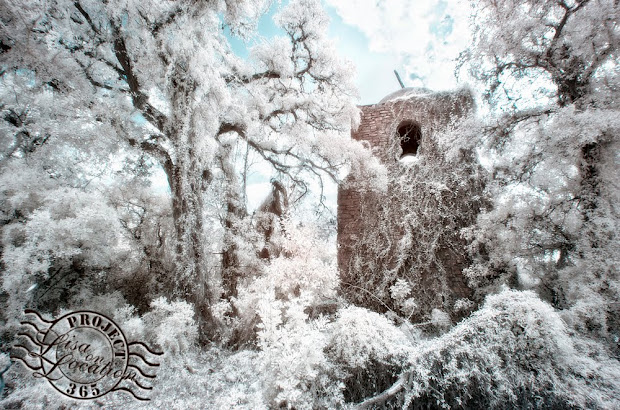 365 photo project, Lisa on Location photography, New Braunfels, Texas. San Xavier Mission replica in infrared. San Marcos, Texas.