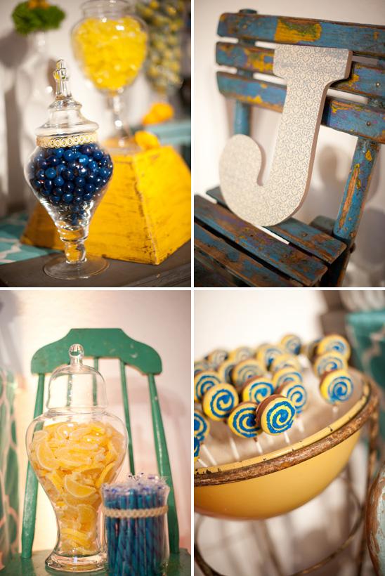 bright blue yellow baby shower modern mindy