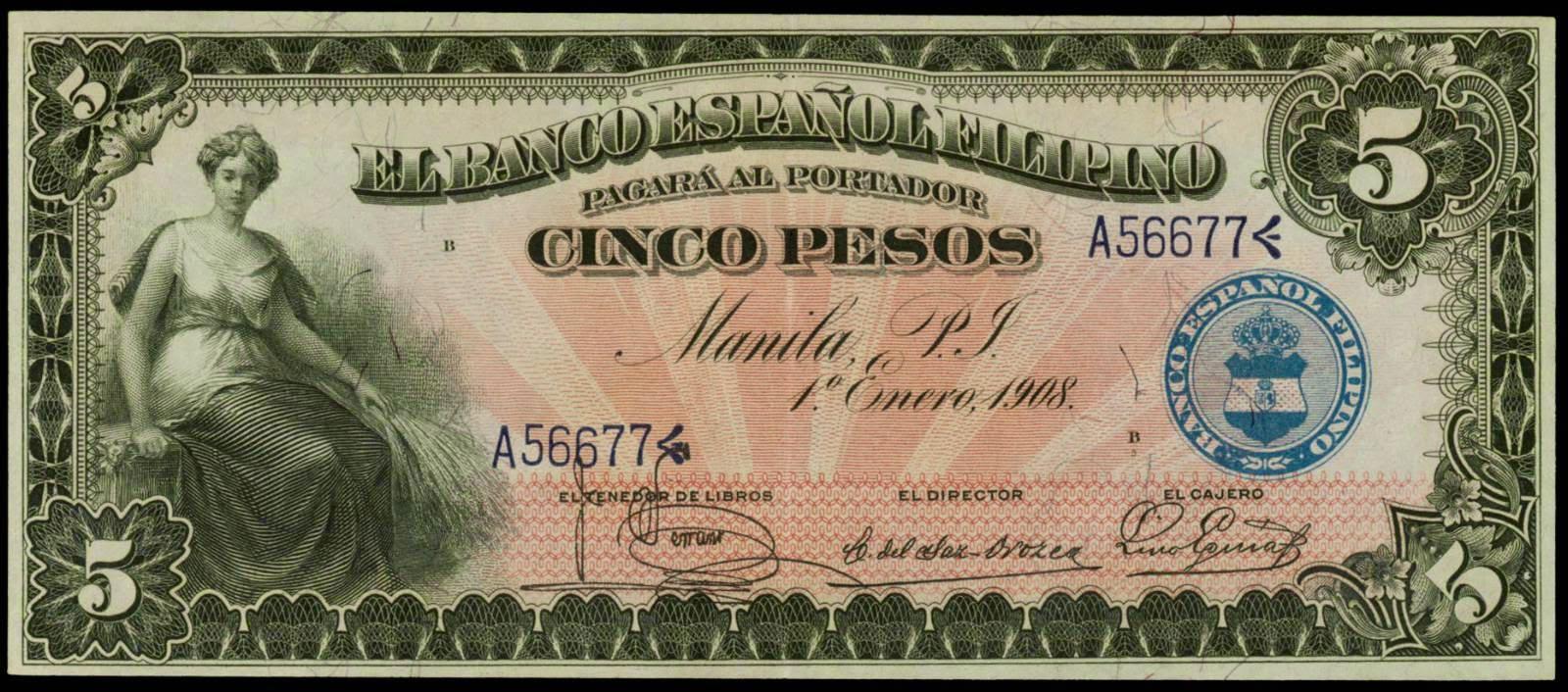 1908 us philippines 5 pesos el banco espanol filipino 1908 cinco pesos